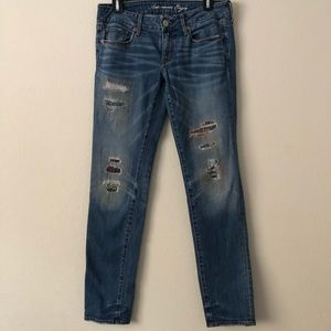American Eagle Distressed Patchwork Skinny Jeans